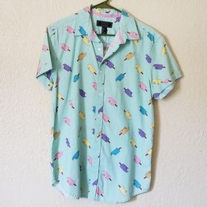 F21 Men Ice Cream Popsicles Button Down Shirt